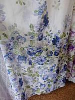 """Тюль лен с принтом """"Голубые цветы"""" в. 280 см с утяж."""