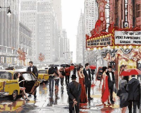 Раскраска по цифрам 40×50 см. Театральный квартал Манхэттен Нью-Йорк Художник Ричард Макнейл