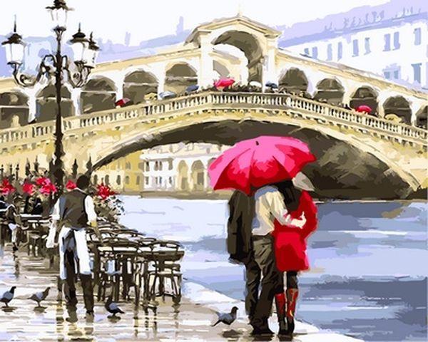 Раскраски для взрослых 40×50 см. Мост Риальто Венеция Италия Художник Ричард Макнейл