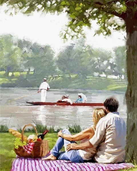 Раскраски для взрослых 40×50 см. Пикник у реки Художник Ричард Макнейл