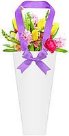 Бумажная сумка для букетов и горшечных цветов белая с фиолетовым