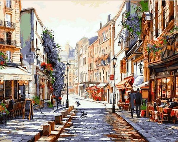 Рисование по номерам 40×50 см. Монмартр Париж Художник Ричард Макнейл