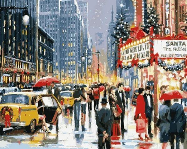Рисование по номерам 40×50 см. Нью-Йоркское рождество у театра Художник Ричард Макнейл