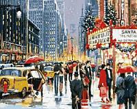 Картины по номерам 40×50 см. Нью-Йоркское рождество у театра Художник Ричард Макнейл