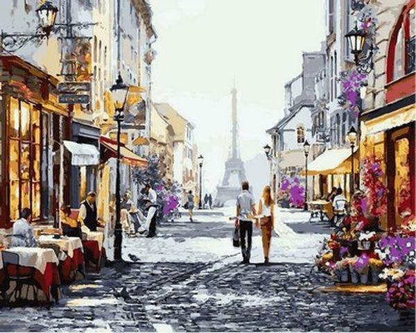 Рисование по номерам 40×50 см. Прогулка по Парижу Художник Ричард Макнейл