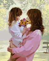 Картины по номерам 40×50 см. Мать и дочь Художник Ричард Макнейл