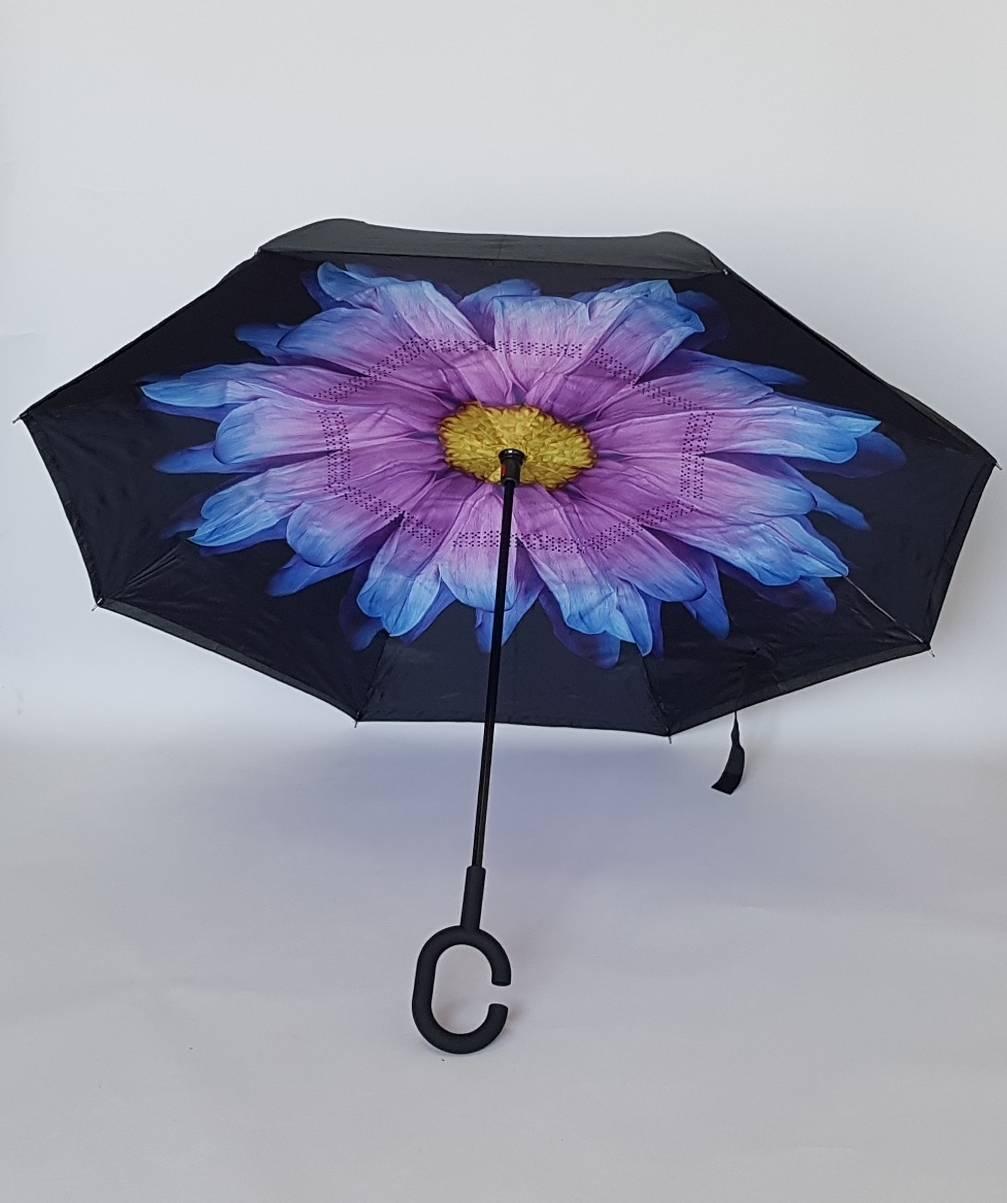 Женский зонт обратного сложения