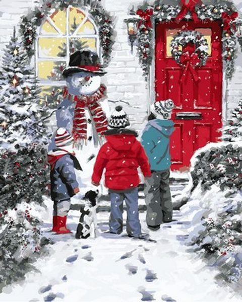 Раскраска по цифрам 40×50 см. Снеговик Художник Ричард Макнейл