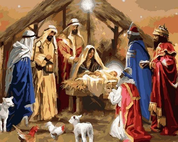 Раскраска по цифрам 40×50 см. Рождение Иисуса Художник Ричард Макнейл