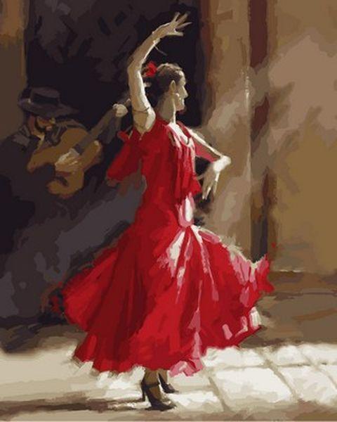 Раскраска по цифрам 40×50 см. Танец Фламенко Художник Ричард Макнейл