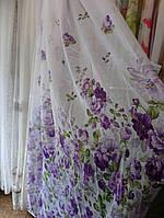 Тюль Декор лен Фиолетовые цветы