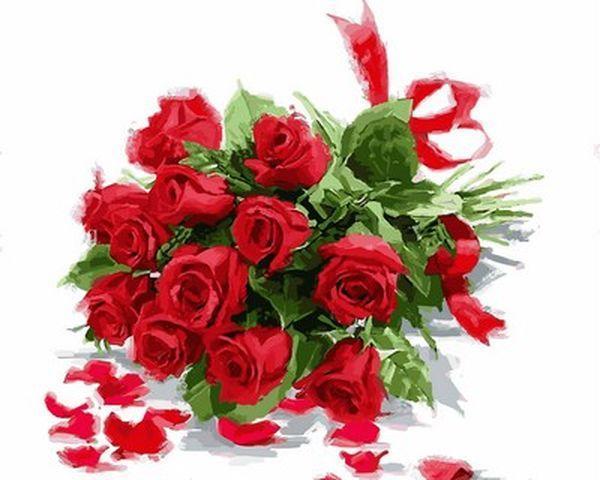Раскраска по цифрам 40×50 см. Букет красных роз Художник Ричард Макнейл