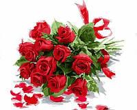 Раскраска по цифрам 40×50 см. Букет красных роз Художник Ричард Макнейл, фото 1