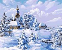 Картины по номерам 40×50 см. Зима в деревне Художник Виктор Цыганов