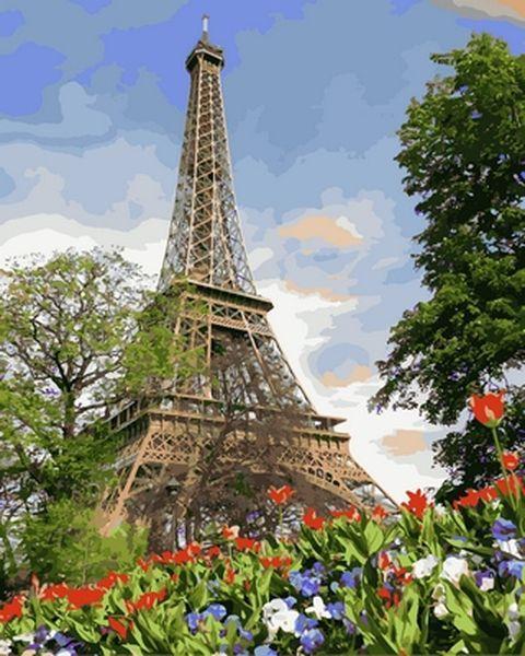 Раскраски для взрослых 40×50 см. Эйфелева башня весной Художник Адриан Честерман