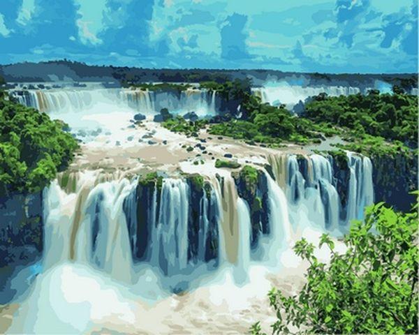 Картини по номерах 40×50 см. Водопад Игуасу