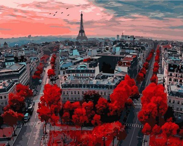 Рисование по номерам 40×50 см. Закат в Париже