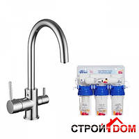 Смеситель для кухни однорычажный Imprese Daicy 55009-U + фильтр воды обратного осмоса 5-и ступенчатый