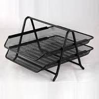 Лоток для бумаги горизонтальный металлический 2-х ярусный черный