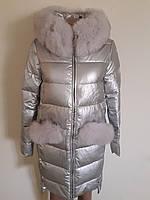 Куртка зима Эко кожа серебро 17212