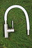 Смеситель для кухни Germece 0303 W SSF нержавеющая сталь гибкий, фото 2