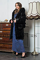 Женская шуба из эко меха 081 черная 42-54рр