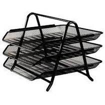 Лоток для бумаги горизонтальный металлический тройной черный