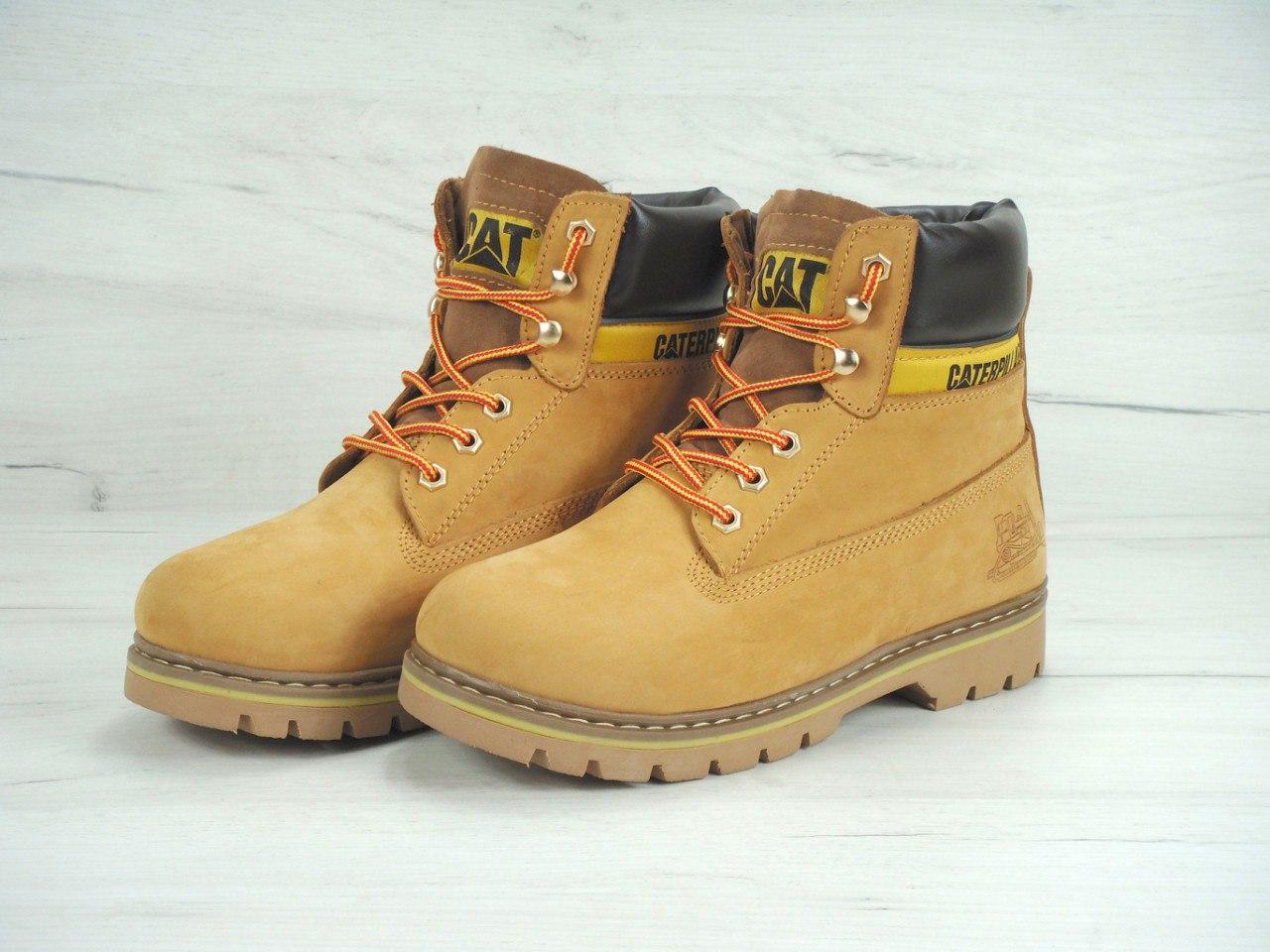 Зимние мужские ботинки Caterpillar песочные топ реплика