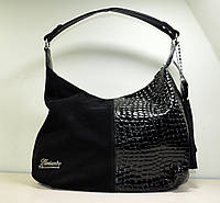 Женская модная сумка мешок из черной замши, новинка осень-зима