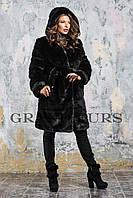 Женская шуба из эко меха 084 черная 42-54рр