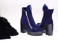 Женские стильные ботиночки на каблуке от TroisRois из натурального турецкого замша