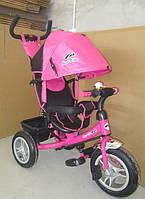 Велосипед 3-х колес TR17016 складной козырек,надувные колеса 12'' и 10''       Розовый