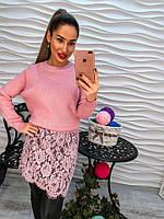 Свитер-туника розового цвета