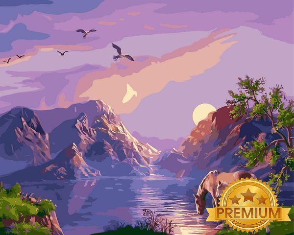 Картини по номерах 40×50 см. Babylon Premium Закат в горах Художник Виктор Цыганов