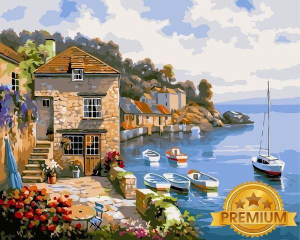 Рисование по номерам 40×50 см. Babylon Premium Дом на берегу океана Художник Сунг Ким