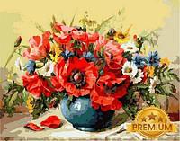 Картины по номерам 40×50 см. Babylon Premium Ваза с маками Художник Майкл Гаусс