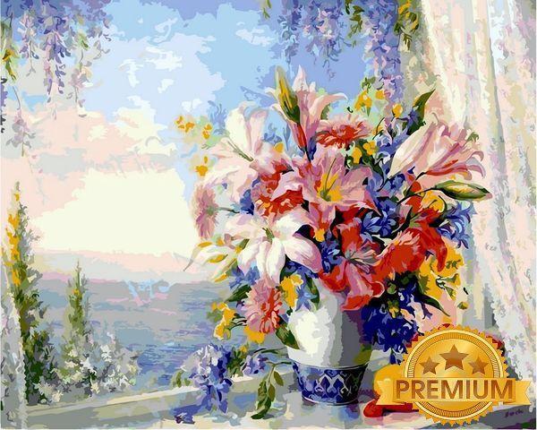 Раскраски для взрослых 40×50 см. Babylon Premium Букет на подоконнике