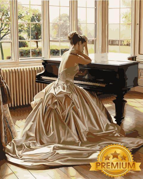 Раскраски по номерам 40×50 см. Babylon Premium Девушка у рояля Художник Роб Хэфферан