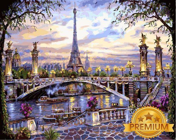 Рисование по номерам 40×50 см. Babylon Premium Воспоминания о Париже Художник Роберт Файнэл