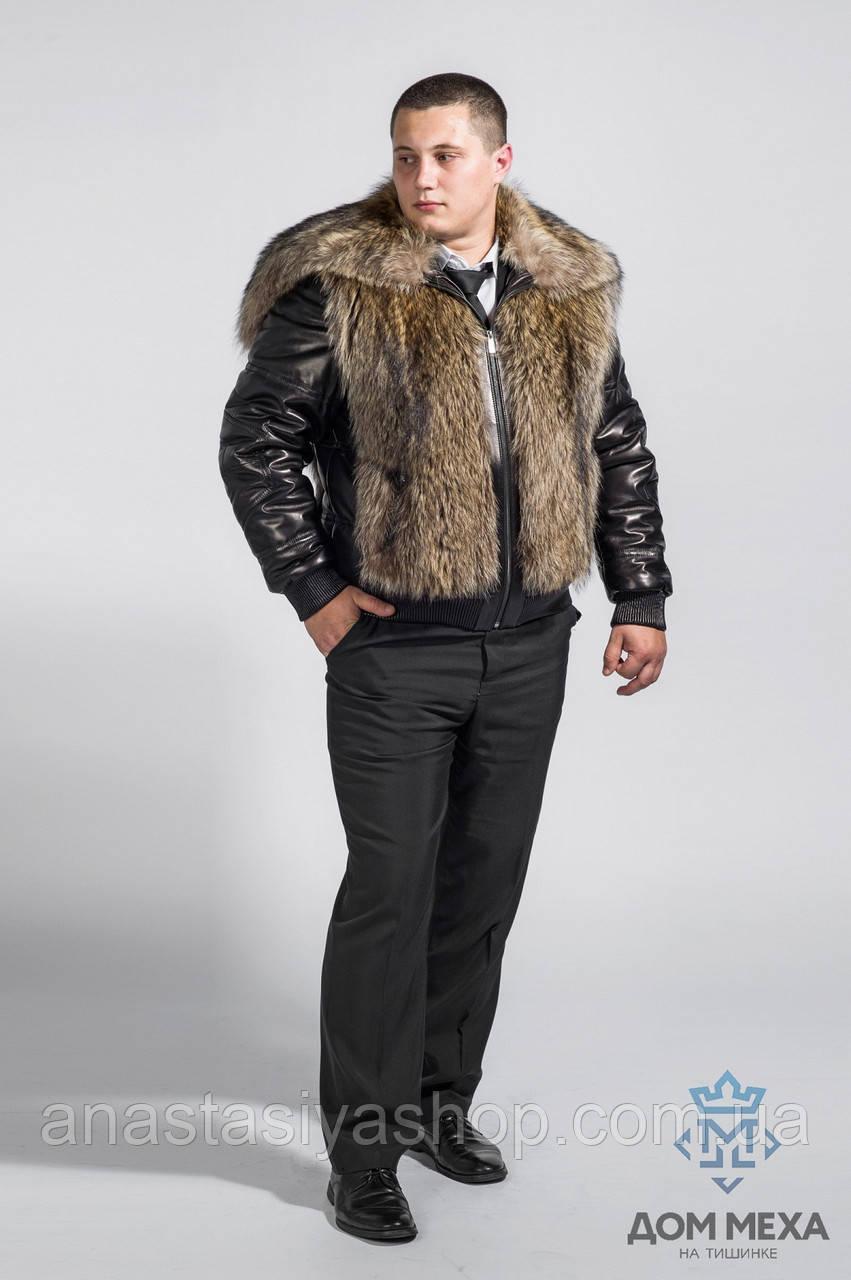 Стильная шубка из волка с кожаными рукавами.