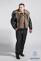 Стильная шубка из волка с кожаными рукавами., фото 1