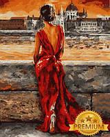 Картины по номерам 40×50 см. Babylon Premium Итальянка в красном