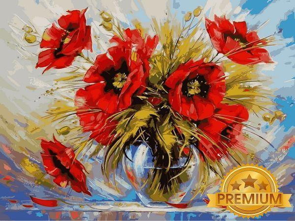 Раскраски для взрослых 40×50 см. Babylon Premium Маки в стеклянной вазе Художник Зиновий Сыдорив