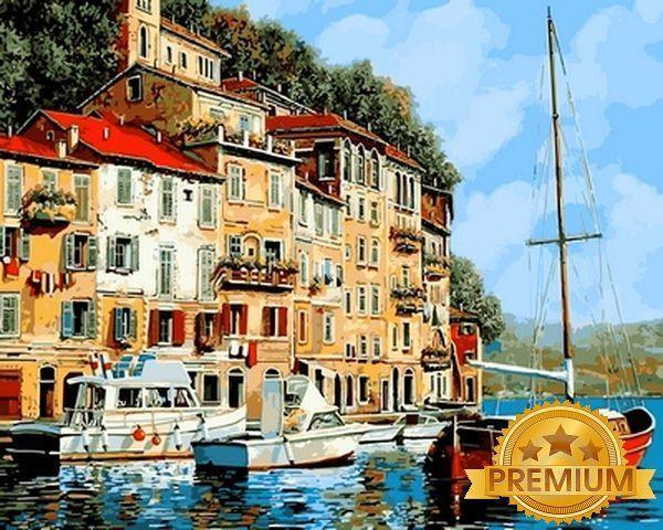 Рисование по номерам 40×50 см. Babylon Premium Красная лодка Художник Гвидо Борелли
