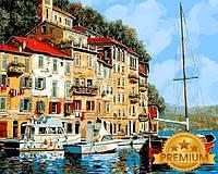 Рисование по номерам 40×50 см. Babylon Premium Красная лодка Художник Гвидо Борелли, фото 1