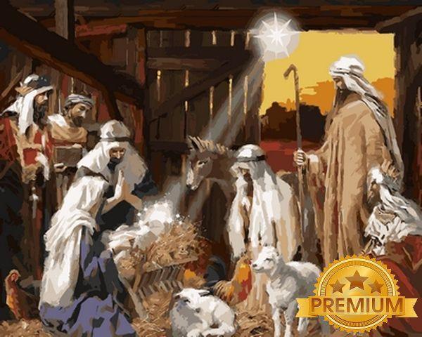 Раскраски по номерам 40×50 см. Babylon Premium Ясли Христовы Художник Ричард Макнейл
