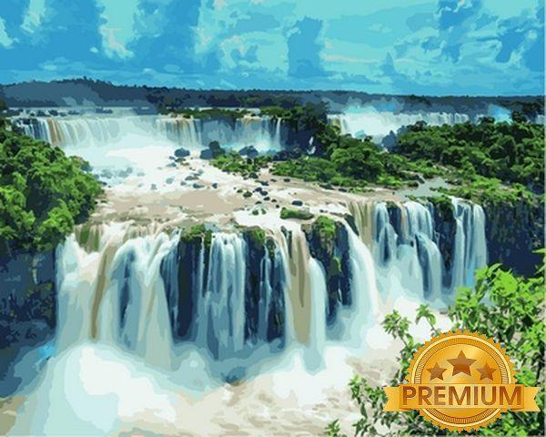 Картини по номерах 40×50 см. Babylon Premium Водопад Игуасу