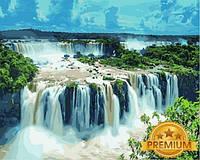 Картины по номерам 40×50 см. Babylon Premium Водопад Игуасу