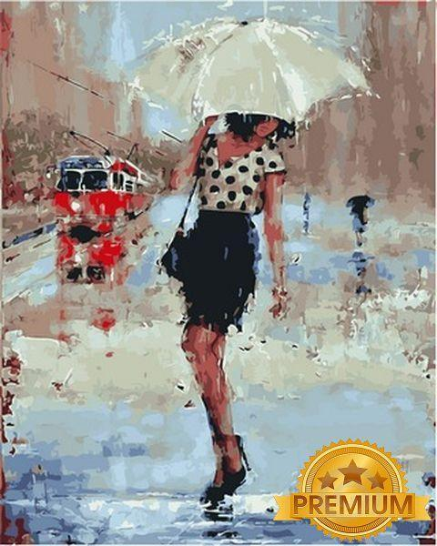 Раскраски по номерам 40×50 см. Babylon Premium Дождливый день Художник Лаура Ли Зангетти