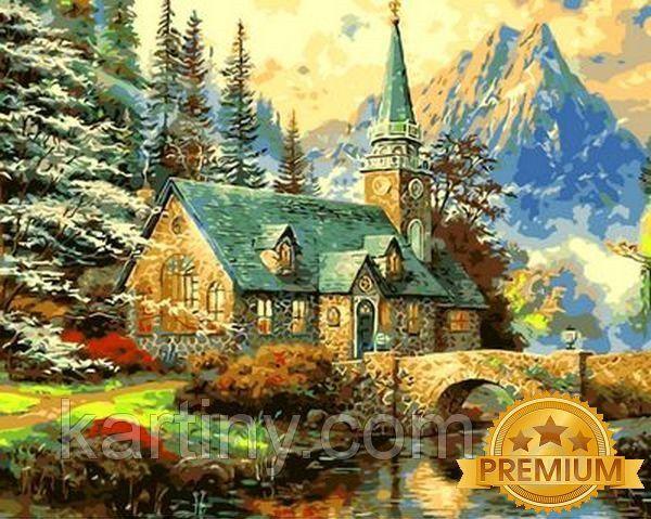 Картины раскраски по номерам 40×50 см. Babylon Premium Альпийский пейзаж Часовня Художник Томас Кинкейд